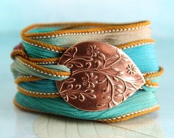 Copper Flower Bracelet - Silk Ribbon Wrap   Wrist Wrap Bracelet and Handmade Copper Focal - Ribbon Bracelet   Yoga Jewelry   Silk Cuff