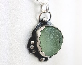 Sea Glass Necklace Aqua Sea Glass Pendant Sea Glass Jewelry Mothers Day Gift - N-637 Mothers Day Sale