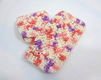 Cotton Dish Cloths, Crochet Two Wash Cloths, Purple and Coral Kitchen Dishcloths by Charlene, Textured Dishcloths, Gift for Mom