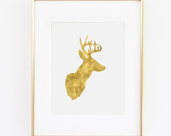 Wall Art Print - Gold Deer Antler Digital Download Art Print