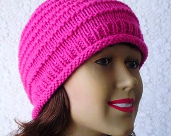 Bright pink beanie hat, knit hat, womens pink beanie hat, skull cap, pink chemo cap, womens hat, pink knitted hat, pink hat for women