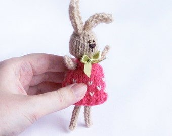 Bunny decor Stuffed rabbit with ribbon and dress Home decoration gift Spring rustic country indoor decor Multicolor animal Gift for him her
