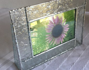 Clear textured stained glass photo frame