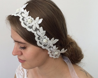 Headband Bohème, Bridal Headwrap, Lace Headband, Pearl Hairband, Hair Jewelry, Wedding Headband, Embroidery Headband, Boho Chic Hairwrap