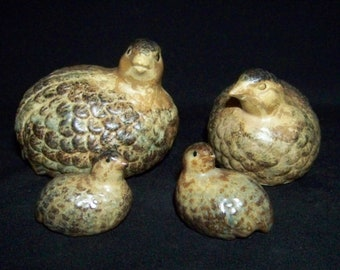 Vintage Otagiri Ceramic Quail Family Mom Pop and Chicks Luster Colors Marked Japan