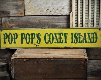 Custom Coney Island Sign - Rustic Hand Made Distressed Wood ENS1000825