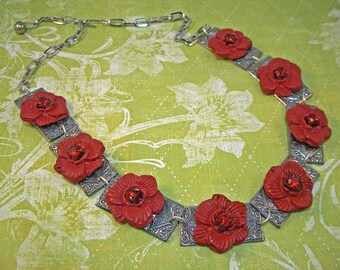 Red Lady - Bold Statement Necklace with Red Flowers Rhinestones and Silver Thingies