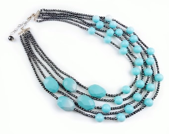 Turquoise necklace for women, silver statement jewelry gift, mothers day, multistrand necklace for wife, anniversary gift for mom, hematite