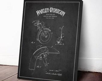 1949 Harley Davidson Motorcycle Patent, Harley Davidson Canvas Print, Harley Davidson Wall Art, Home Decor, Gift Idea, TRBM04C