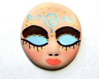 Cabochon, face cab, polymer clay face, brown, blue