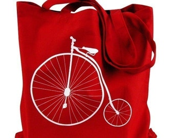 Canvas Tote Bag - Penny Farthing Bike Print on Red Bag