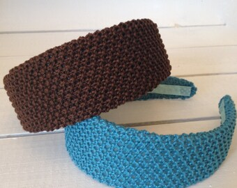 2-inch wide hard headband covered in textured cotton. Hand-knitted seed stitch in cotton yarn.