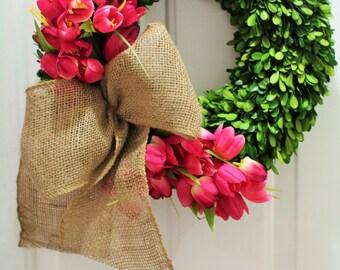 20 inch Spring wreath ,silk tulip wreath , boxwood wreath , preserved boxwood wreath  ,front door mothers day wreath