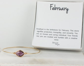 February Birthsone Gold Bangle, February Birsthstone Gold Bracelet, Amethyst Bangle Bracelet, Amethyst Gold Bracelet, Bridesmaid Jewelry