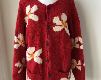 Vintage handknit cardigan in Red Wool with a  Daisy pattern Chunky Plus size Women sweater chest 48""