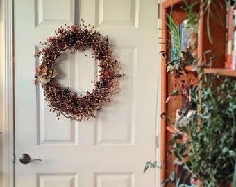 Golden Berry Pinecone Christmas Wreath