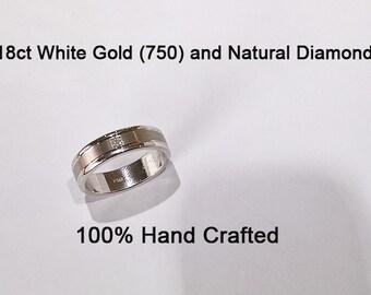 18ct 750 white gold natural square princess cut diamond wedding ring