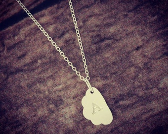 Hand Stamped Cloud Pendant Necklace