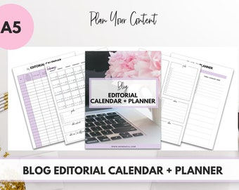 A5 Size - Blog Editorial Calendar + Planner (60+ PAGES!)