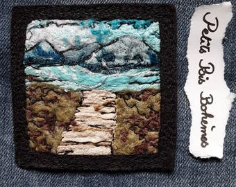 Textile landscape brooch