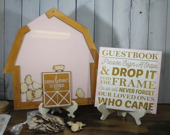 Baby Shower/Birthday Party/Top Drop Frame/Guest Book/Unique/Alternative/Barn/Barn Animals/Farm/Themed Shower/Farm Theme/Complete Set