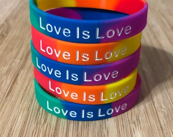 "10 Pack of LGBT Pride ""Love is Love"" Silicone Wristbands (bracelets)"