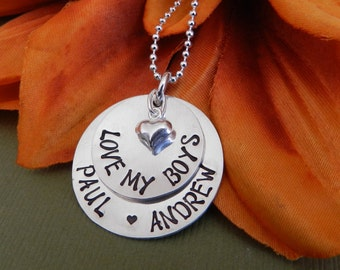 Love my boys necklace Mothers day gift, Mothers day necklace mom of boys Gift from son Sterling silver Hand stamped, Mothers necklace twins