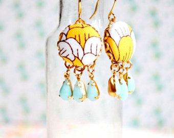 Yellow earrings, Yellow jewelry, Dangle earrings, Small Yellow Earrings, Yellow drop earrings, yellow wedding jewelry, Glass earrings