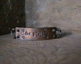 be still  -  bracelet plaque in warm copper
