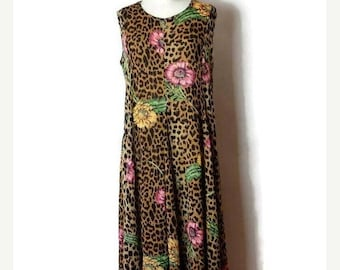 ON SALE Vintage Leopard/ Floral printed Sleeveless Dress /Casual Long Dress from 80's*