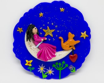 """Girl on the Moon"" magnet"