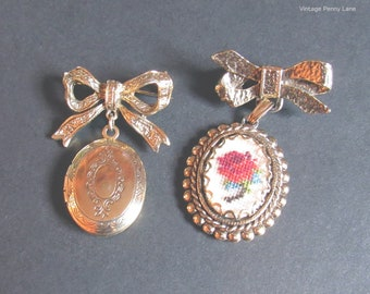 Vintage Gold Ribbon Bow Pins, Needlepoint Flower / Locket Dangle Charms, Vintage Brooch Lot