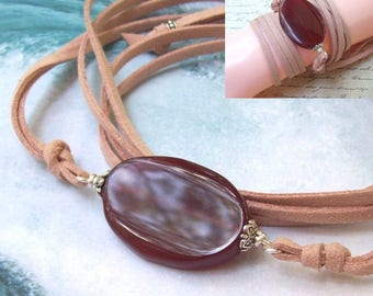 SALE Carnelian Wrap Bracelet, leather wrap, boho bracelet, gemstone, long, necklace, bohemian, wrapped, faux leather, bohemian jewelry