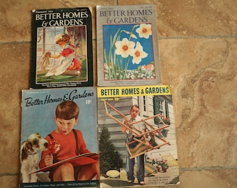 Set of 4, Better Homes and Gardens 1930s Vintage, Better Homes & Gardens, Photography Prop, Wedding Photo Booth, Old Magazine