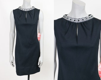Vintage 60s Dress / 1960s Deadstock Black Wool Shift Dress with Silver Collar M