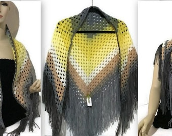The Yellow Bell Shawl, crochet shawl, triangular shawl, wrap, mandala shawl, yellow grey beige colors, handmade shawl, triangular scarf.