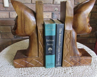 Special-Vintage Wood Carved Large Siamese Cat Bookends.