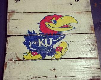 KU Jayhawks hand painted sign on reclaimed wood