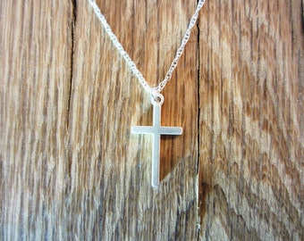 """Sterling Silver Cross Pendant Necklace - Sterling Silver Chain - 20"""""""