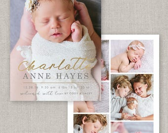 Charlotte Birth Announcement Template #19 for Photoshop: Instant Download