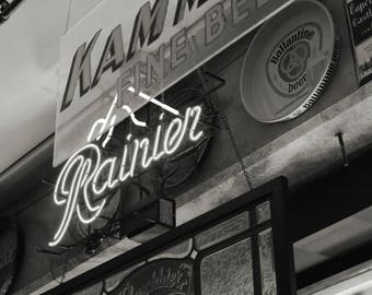 Seattle Photo, Seattle photography, Seattle print, Rainier Beer, black and white photo