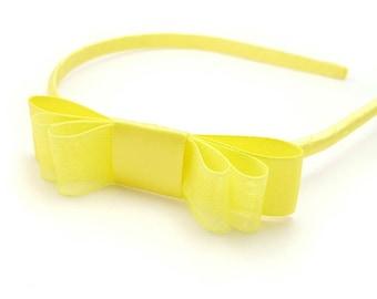 Yellow Headband, Satin Bow Headband for Women, Sheer Organza Headband for Girls, Lemon Yellow Headband, Skinny Headband, Baby Toddler Girls