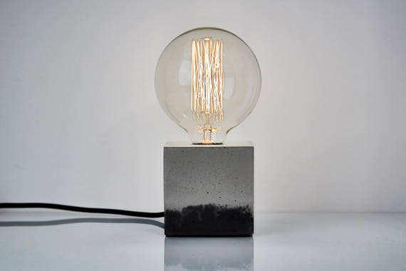 Two Colored Concrete Table Lamp With Black Textile Cable, Concrete Lamp, Concrete  Table Lamp, Industrial Lamp, Light, Concrete Light, Beton