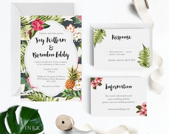 Tropical Wedding Invitation Suite, Wedding Invitation Printable, Invitation Set, Wedding Invitation Rustic, Letter or A4 (Item code: P731)