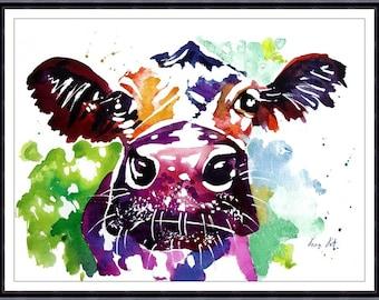 COW, Original Watercolor Painting, Original Art Print, Watercolor Art