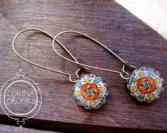 Southwestern jewelry, Mexican Talavera ceramic tile design cabochon, long dangle earrings, Mexican jewelry, Mexican tile jewelry