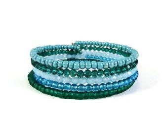 Aqua Blue Wrap Bracelet, Turquoise Beaded Bracelet, Crystal Bead Cuff Bracelet, Beach Bracelet, Starfish Charm, Bangle, Nautical Jewelry