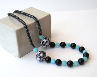 Black Blue Necklace, Lampwork Glass Necklace, Beaded Necklace, Choker Necklace, Stone Bead Necklace