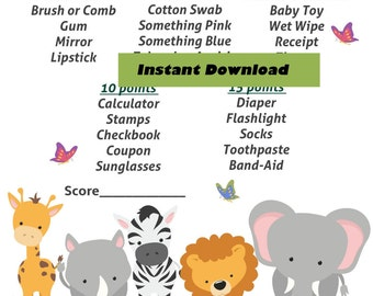 What's in Your Purse Baby Shower - Jungle Safari Animal Baby Purse Treasure Hunt, Zoo Animal Baby Shower Game, Printable Baby Shower Games,