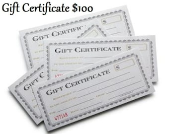 GIFT CERTIFICATE - 100 Dollars Credit Value redeemable at both/either of my Etsy Shops